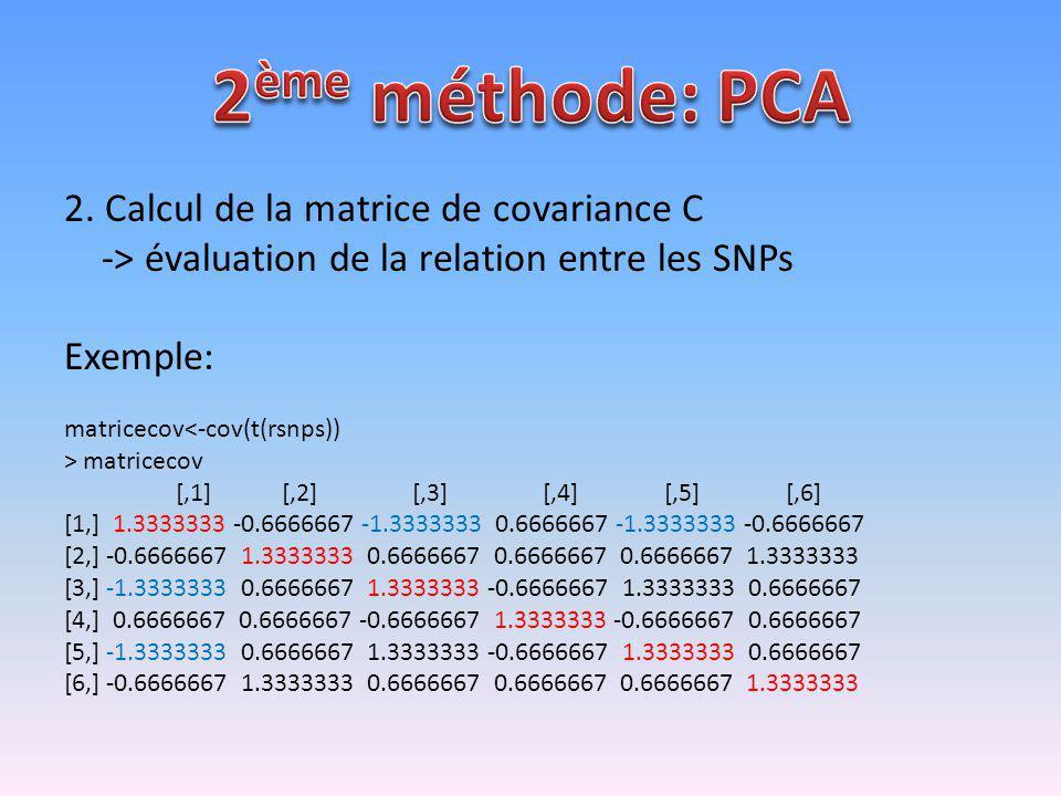 2. Calcul de la matrice de covariance C -> évaluation de la relation entre les SNPs Exemple: matricecov<-cov(t(rsnps)) > matricecov [,1] [,2] [,3] [,4