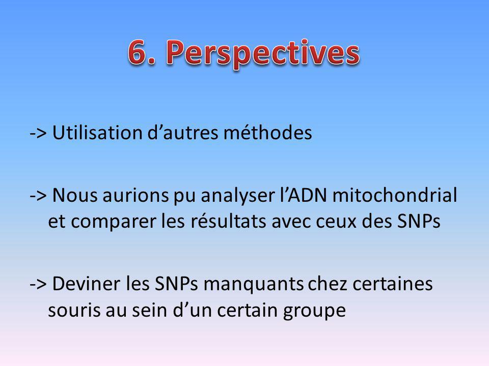 -> Utilisation dautres méthodes -> Nous aurions pu analyser lADN mitochondrial et comparer les résultats avec ceux des SNPs -> Deviner les SNPs manqua