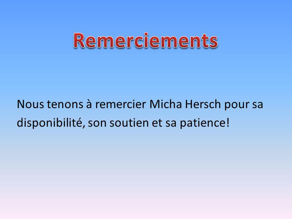 Nous tenons à remercier Micha Hersch pour sa disponibilité, son soutien et sa patience!