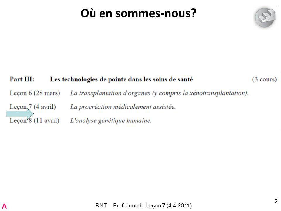 Larrêt choisi: Arrêt ___ Enjeu: –___ RNT - Prof. Junod - Leçon 7 (4.4.2011) 73 C