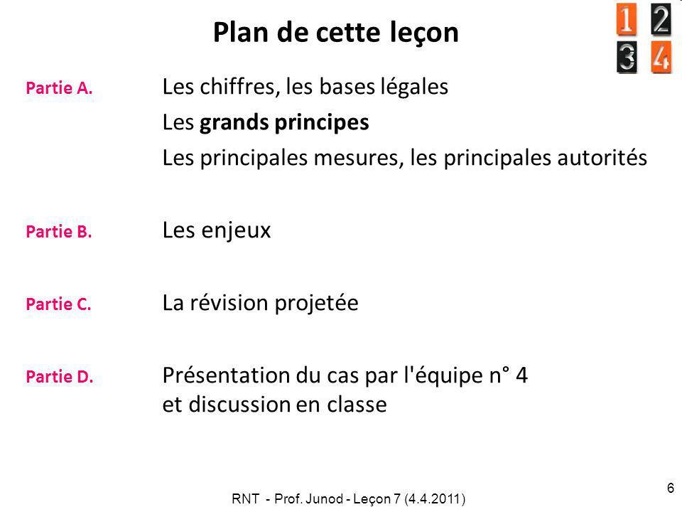 RNT - Prof.Junod - Leçon 7 (4.4.2011) 7 Pourquoi ce thème.