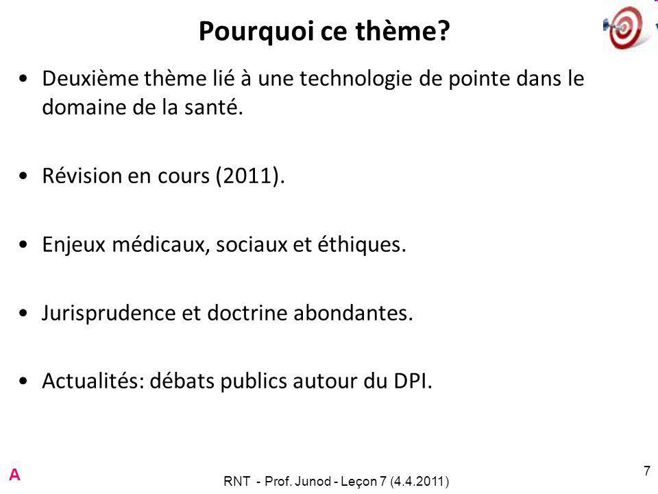 Révision projetée LPMA RNT - Prof. Junod - Leçon 7 (4.4.2011) 8