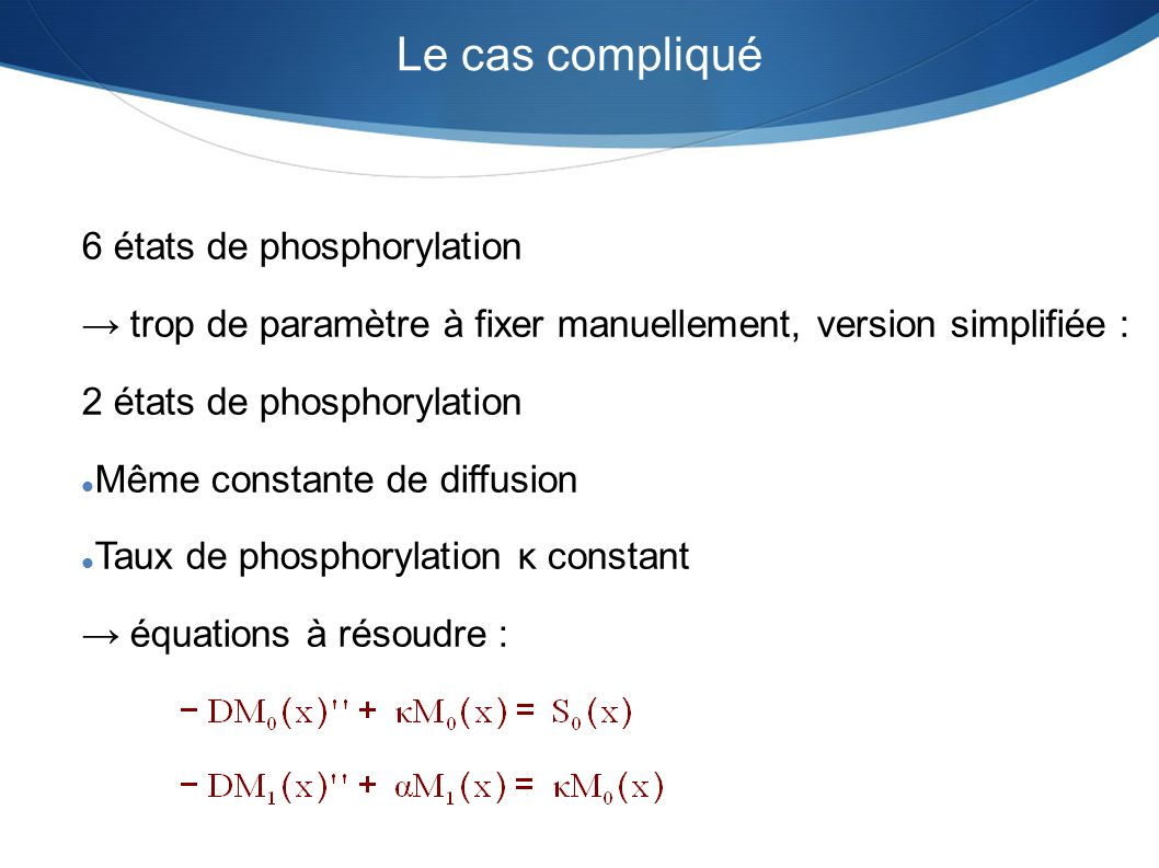 Le cas compliqué 6 états de phosphorylation trop de paramètre à fixer manuellement, version simplifiée : 2 états de phosphorylation Même constante de