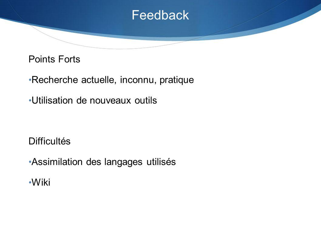 Feedback Points Forts Recherche actuelle, inconnu, pratique Utilisation de nouveaux outils Difficultés Assimilation des langages utilisés Wiki
