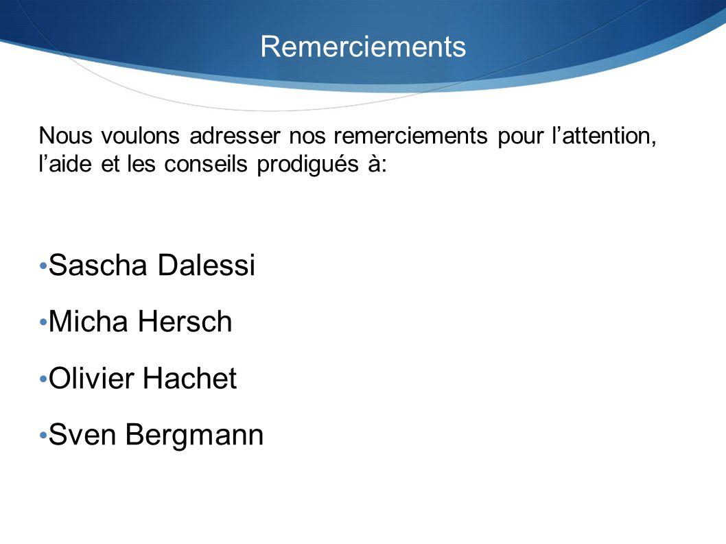 Remerciements Nous voulons adresser nos remerciements pour lattention, laide et les conseils prodigués à: Sascha Dalessi Micha Hersch Olivier Hachet S