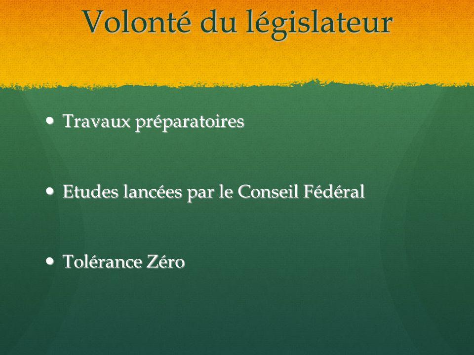 Volonté du législateur Travaux préparatoires Travaux préparatoires Etudes lancées par le Conseil Fédéral Etudes lancées par le Conseil Fédéral Tolérance Zéro Tolérance Zéro