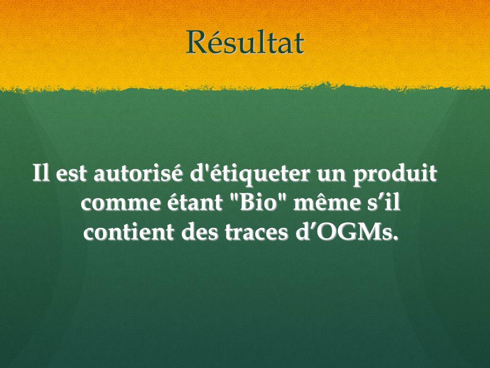 Résultat Il est autorisé d étiqueter un produit comme étant Bio même sil contient des traces dOGMs.