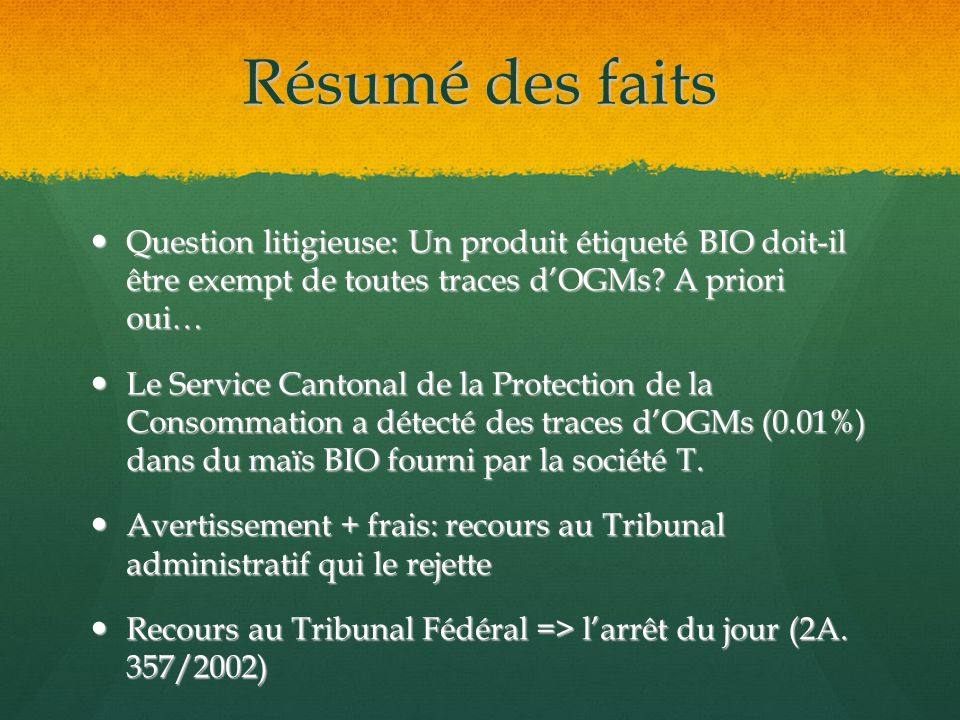 Définitions pertinentes Production biologique (4.b OAB) Production biologique (4.b OAB) « (…) production conforme aux dispositions de lart.