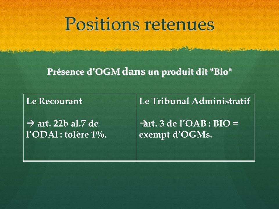 Positions retenues Présence dOGM dans un produit dit Bio Le Recourant art.