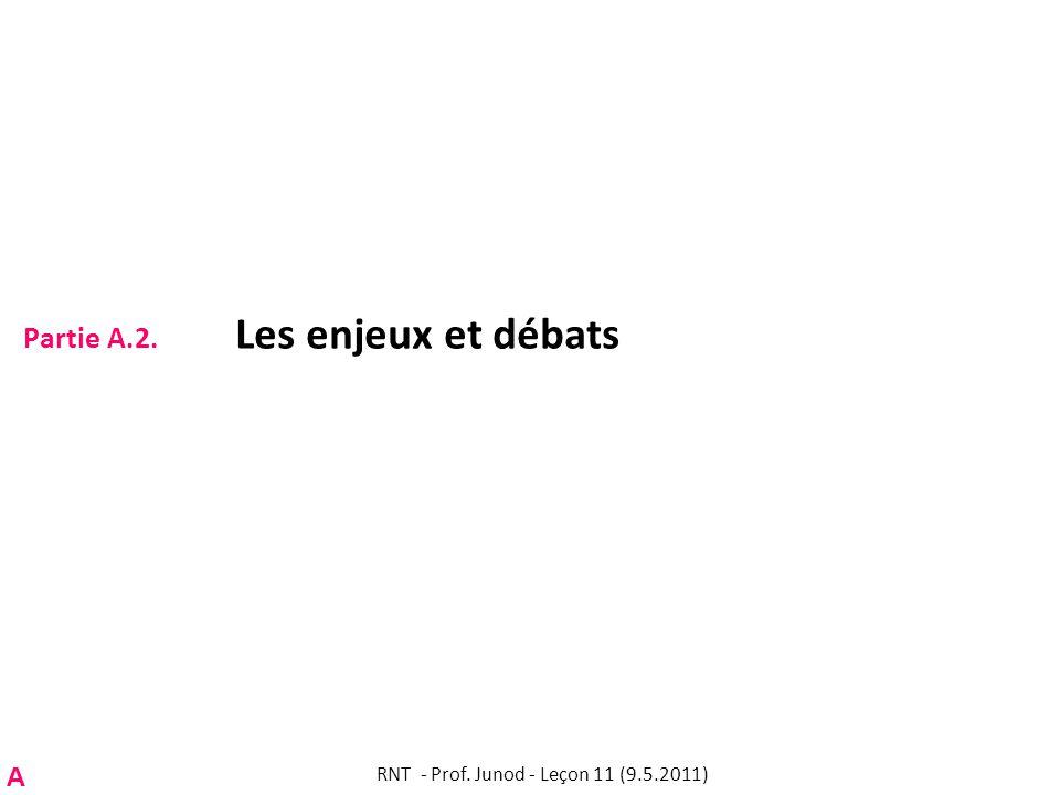 Partie A.2. Les enjeux et débats RNT - Prof. Junod - Leçon 11 (9.5.2011) A