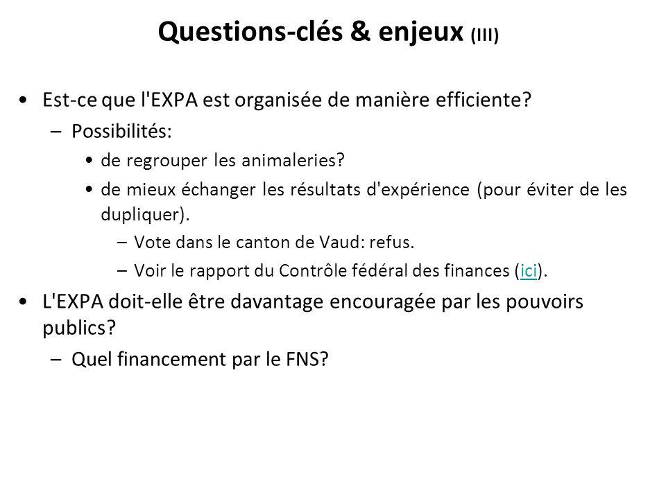Questions-clés & enjeux (III) Est-ce que l'EXPA est organisée de manière efficiente? –Possibilités: de regrouper les animaleries? de mieux échanger le