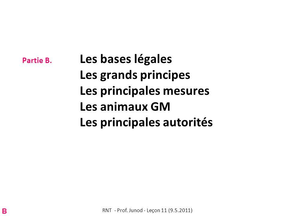 Partie B. Les bases légales Les grands principes Les principales mesures Les animaux GM Les principales autorités RNT - Prof. Junod - Leçon 11 (9.5.20
