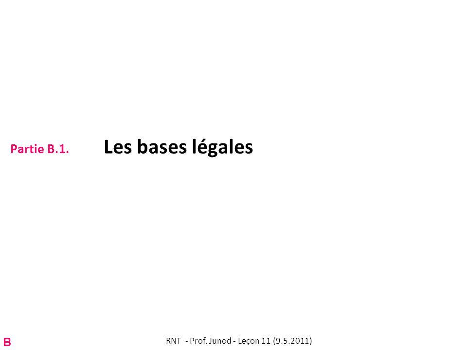 Partie B.1. Les bases légales RNT - Prof. Junod - Leçon 11 (9.5.2011) B