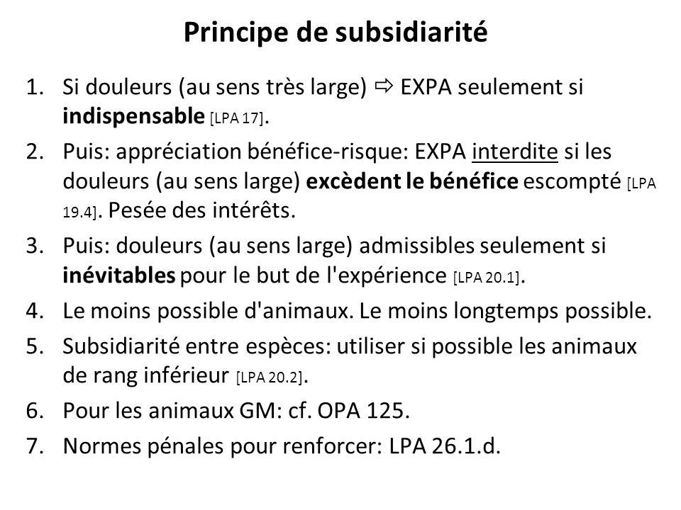 Principe de subsidiarité 1.Si douleurs (au sens très large) EXPA seulement si indispensable [LPA 17]. 2.Puis: appréciation bénéfice-risque: EXPA inter