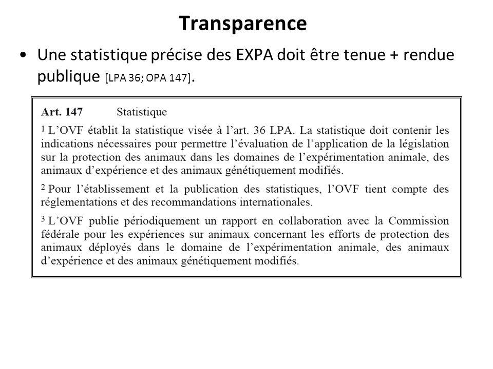 Transparence Une statistique précise des EXPA doit être tenue + rendue publique [LPA 36; OPA 147].
