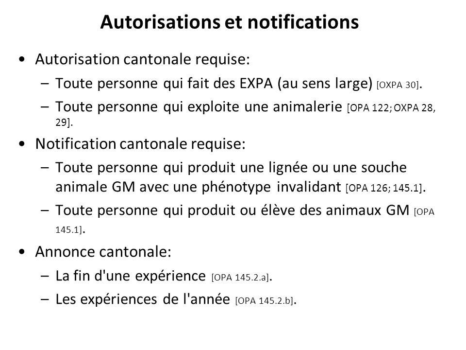 Autorisations et notifications Autorisation cantonale requise: –Toute personne qui fait des EXPA (au sens large) [OXPA 30]. –Toute personne qui exploi