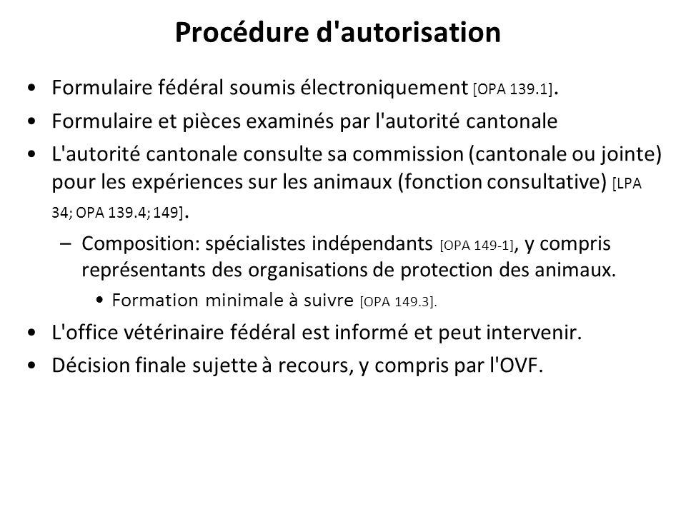 Procédure d'autorisation Formulaire fédéral soumis électroniquement [OPA 139.1]. Formulaire et pièces examinés par l'autorité cantonale L'autorité can