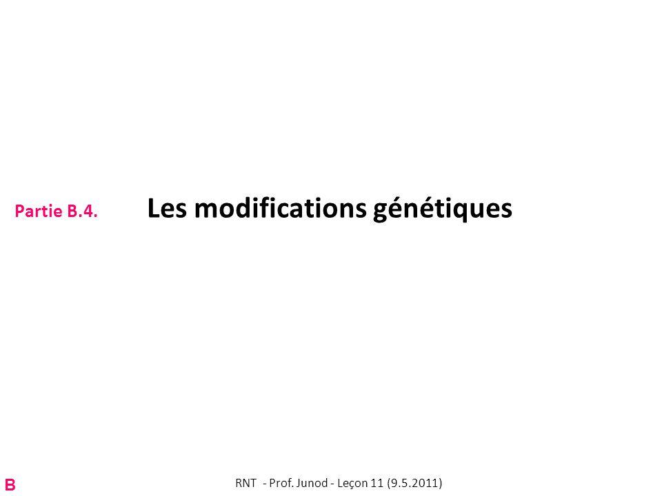 Partie B.4. Les modifications génétiques RNT - Prof. Junod - Leçon 11 (9.5.2011) B