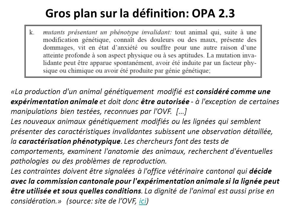 Gros plan sur la définition: OPA 2.3 «La production d'un animal génétiquement modifié est considéré comme une expérimentation animale et doit donc êtr