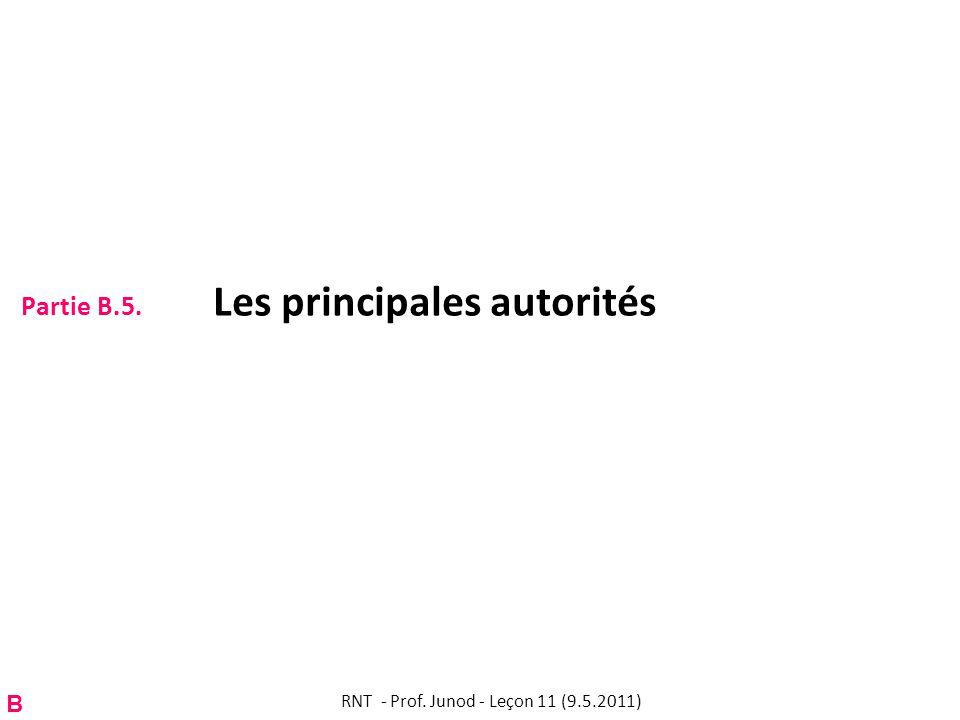 Partie B.5. Les principales autorités RNT - Prof. Junod - Leçon 11 (9.5.2011) B