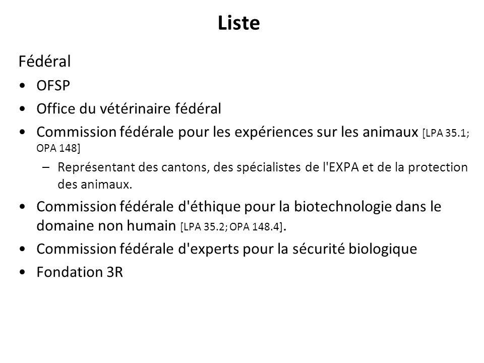 Liste Fédéral OFSP Office du vétérinaire fédéral Commission fédérale pour les expériences sur les animaux [LPA 35.1; OPA 148] –Représentant des canton