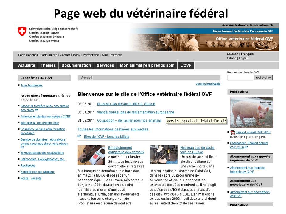 Page web du vétérinaire fédéral