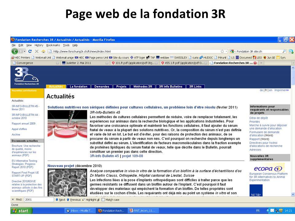 Page web de la fondation 3R