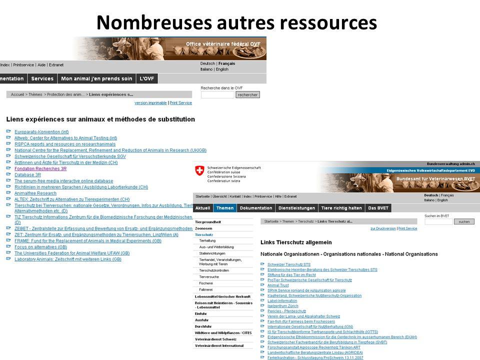 Nombreuses autres ressources