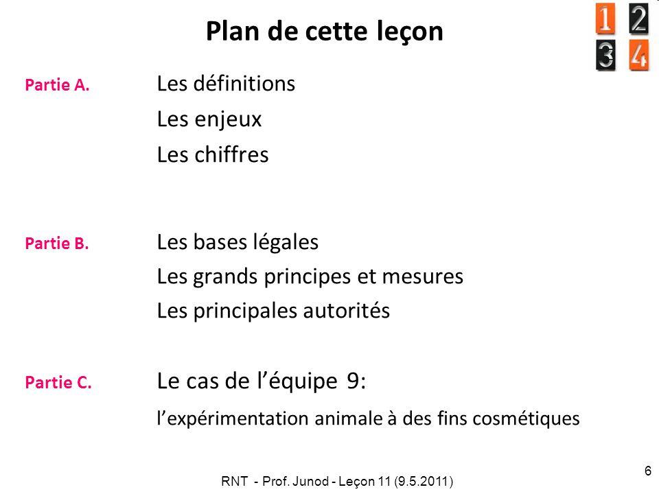 RNT - Prof. Junod - Leçon 11 (9.5.2011) 6 Plan de cette leçon Partie A. Les définitions Les enjeux Les chiffres Partie B. Les bases légales Les grands