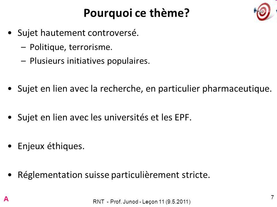 RNT - Prof. Junod - Leçon 11 (9.5.2011) 7 Pourquoi ce thème? Sujet hautement controversé. –Politique, terrorisme. –Plusieurs initiatives populaires. S