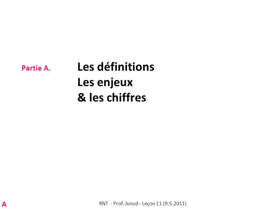 Partie A. Les définitions Les enjeux & les chiffres A RNT - Prof. Junod - Leçon 11 (9.5.2011)
