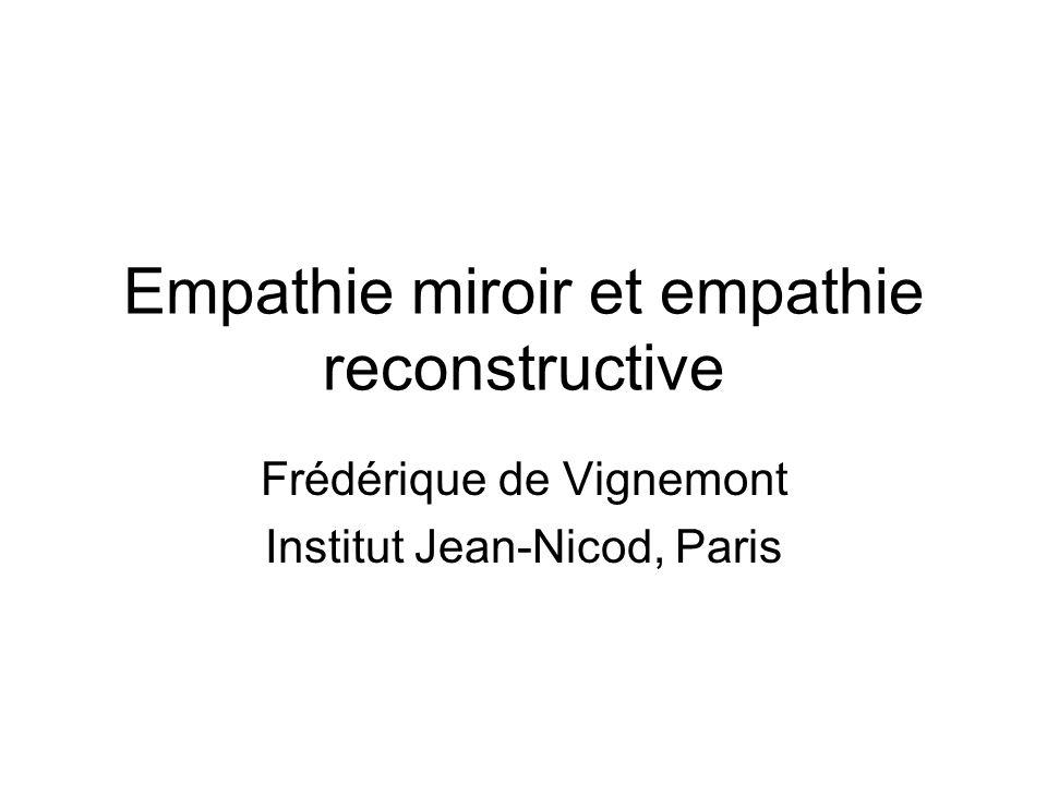 Empathie miroir et empathie reconstructive Frédérique de Vignemont Institut Jean-Nicod, Paris