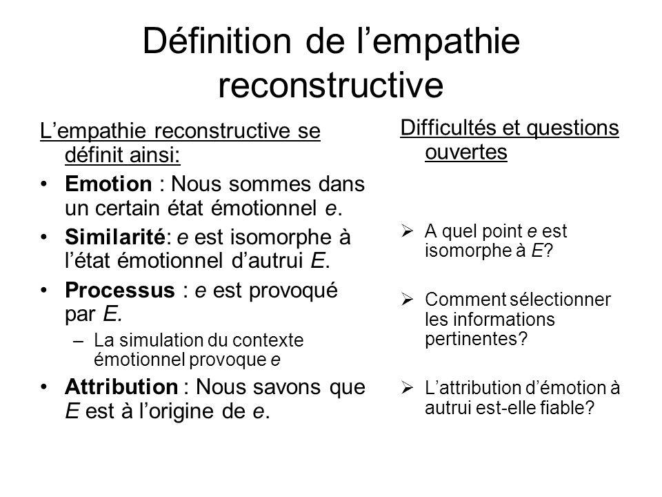 Définition de lempathie reconstructive Lempathie reconstructive se définit ainsi: Emotion : Nous sommes dans un certain état émotionnel e. Similarité: