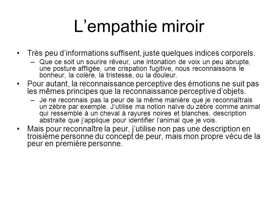 Lempathie miroir Très peu dinformations suffisent, juste quelques indices corporels. –Que ce soit un sourire rêveur, une intonation de voix un peu abr