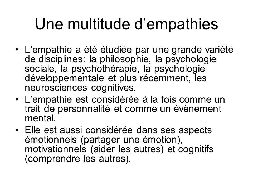 Une multitude dempathies Lempathie a été étudiée par une grande variété de disciplines: la philosophie, la psychologie sociale, la psychothérapie, la