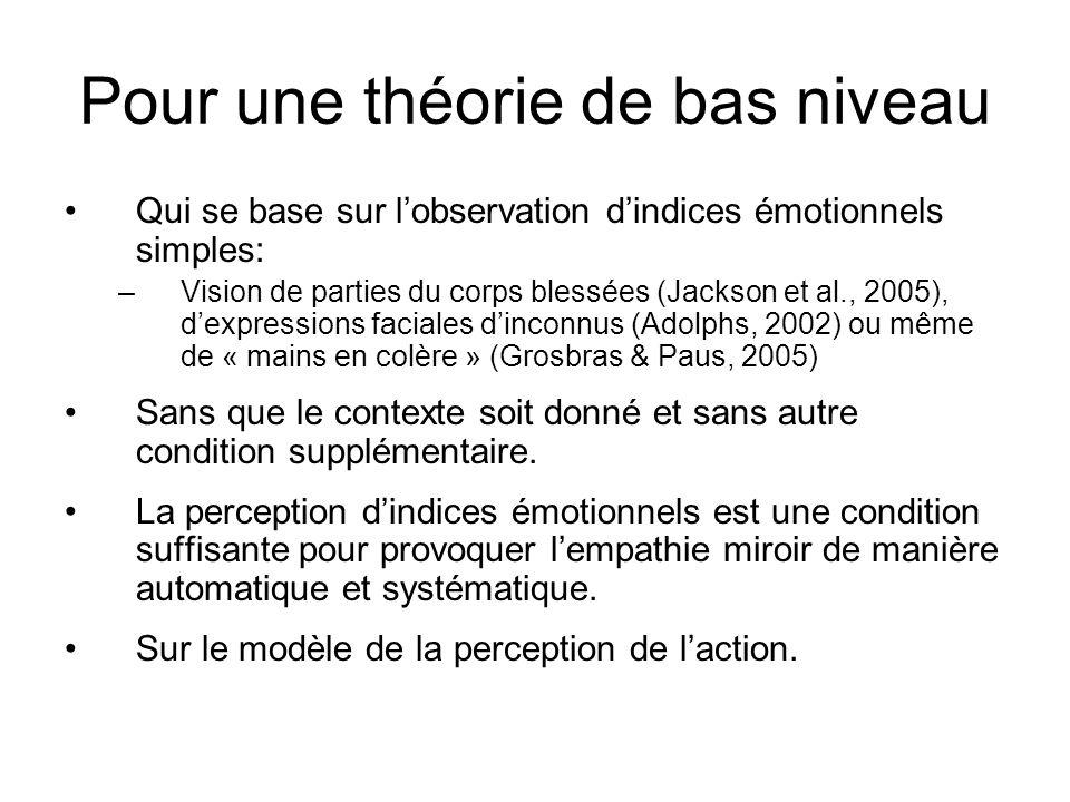 Pour une théorie de bas niveau Qui se base sur lobservation dindices émotionnels simples: –Vision de parties du corps blessées (Jackson et al., 2005),