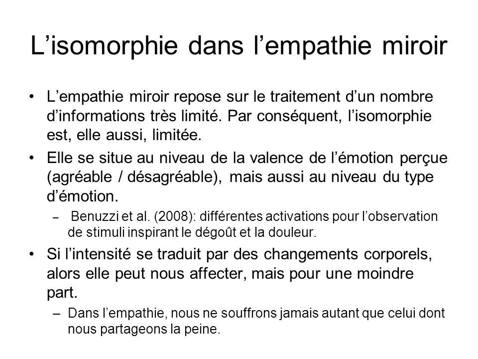 Lisomorphie dans lempathie miroir Lempathie miroir repose sur le traitement dun nombre dinformations très limité. Par conséquent, lisomorphie est, ell