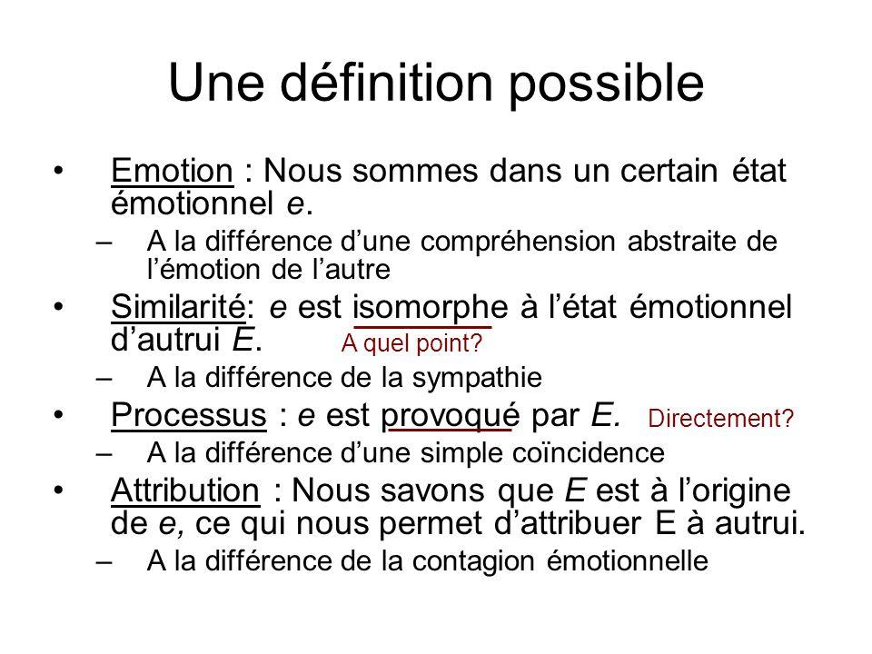 Une définition possible Emotion : Nous sommes dans un certain état émotionnel e. –A la différence dune compréhension abstraite de lémotion de lautre S