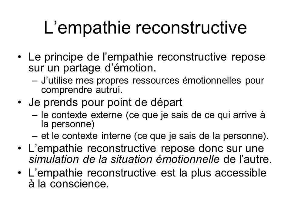 Lempathie reconstructive Le principe de lempathie reconstructive repose sur un partage démotion. –Jutilise mes propres ressources émotionnelles pour c