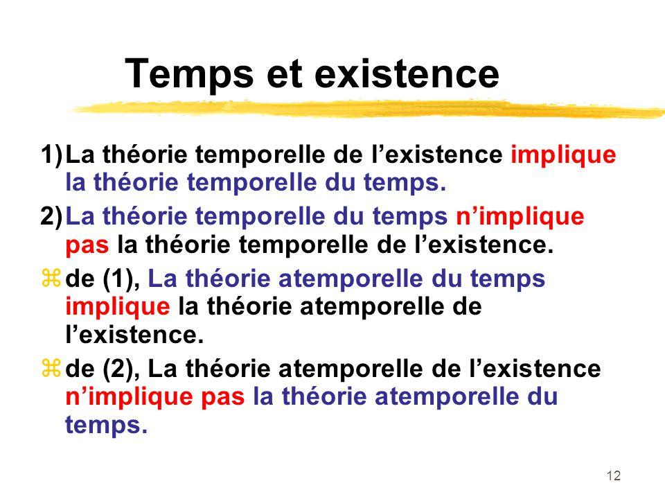12 Temps et existence 1)La théorie temporelle de lexistence implique la théorie temporelle du temps. 2)La théorie temporelle du temps nimplique pas la