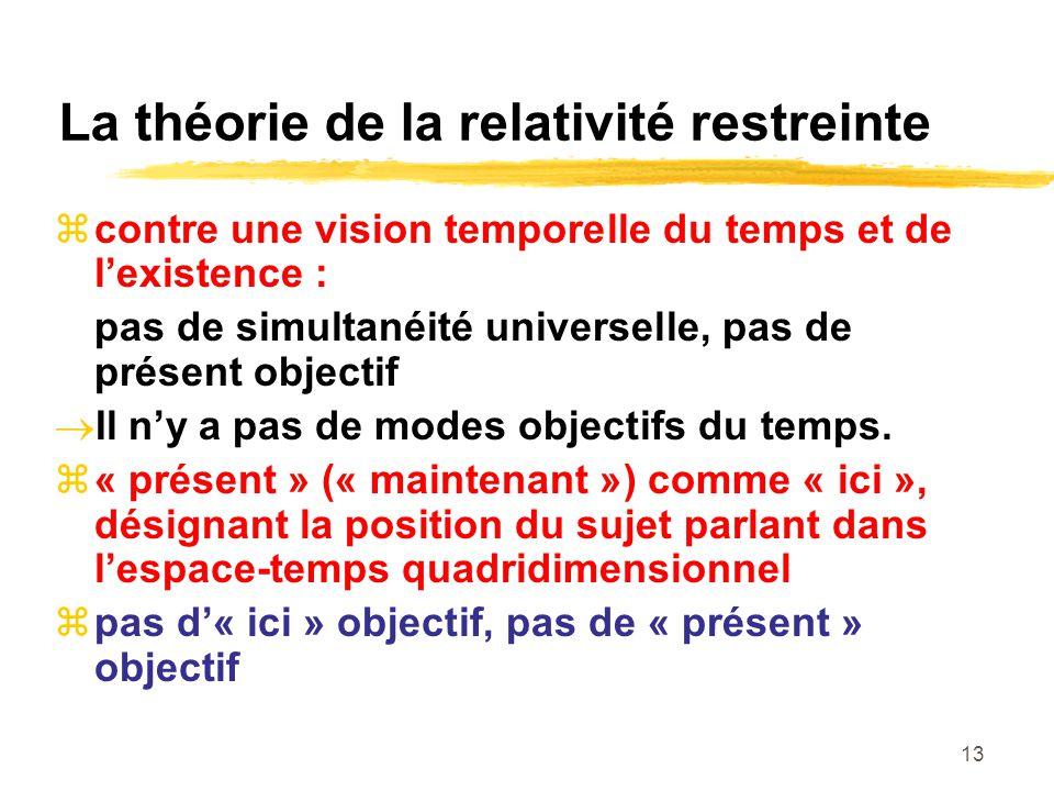 13 La théorie de la relativité restreinte contre une vision temporelle du temps et de lexistence : pas de simultanéité universelle, pas de présent obj