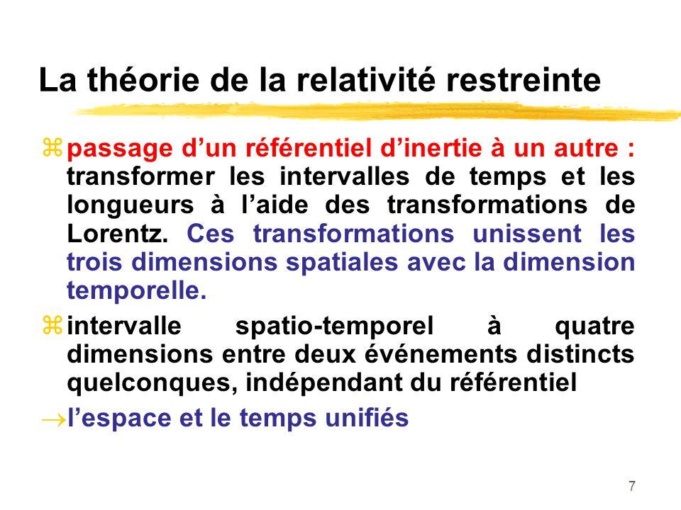7 La théorie de la relativité restreinte passage dun référentiel dinertie à un autre : transformer les intervalles de temps et les longueurs à laide d