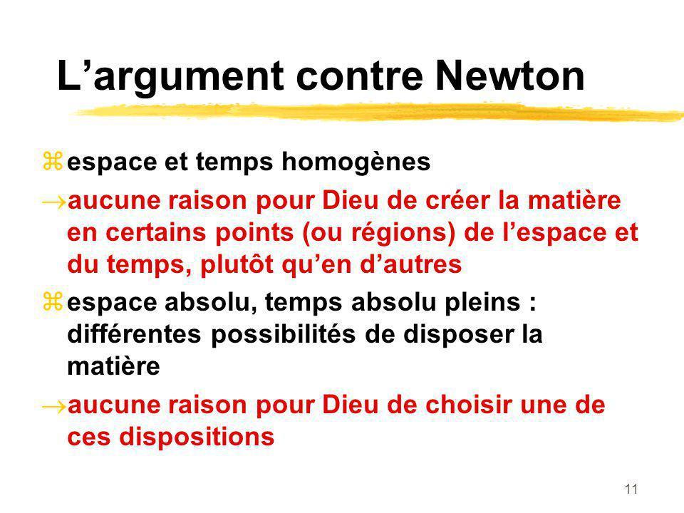 11 Largument contre Newton espace et temps homogènes aucune raison pour Dieu de créer la matière en certains points (ou régions) de lespace et du temp