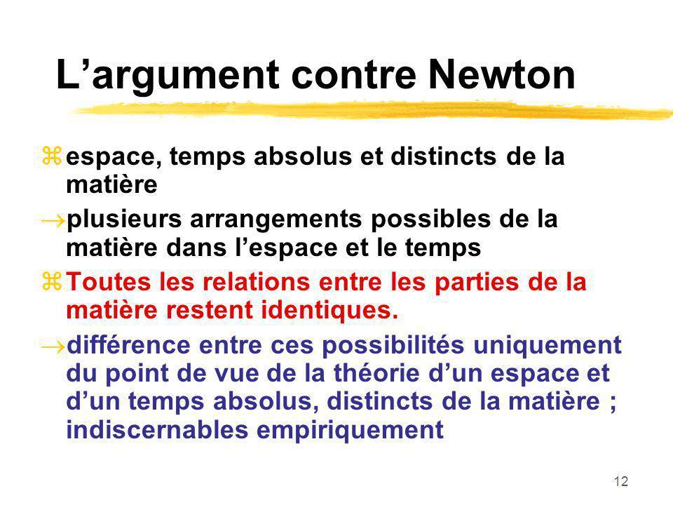 12 Largument contre Newton espace, temps absolus et distincts de la matière plusieurs arrangements possibles de la matière dans lespace et le temps To
