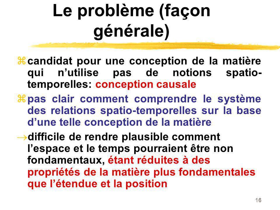 16 Le problème (façon générale) candidat pour une conception de la matière qui nutilise pas de notions spatio- temporelles: conception causale pas cla