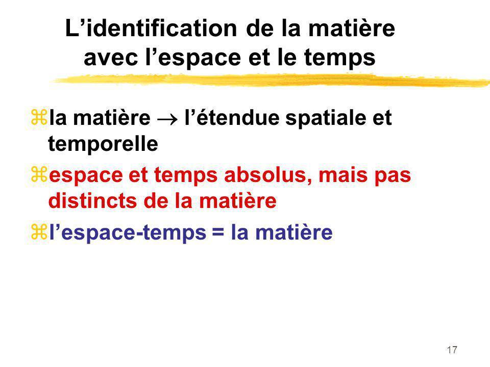 17 Lidentification de la matière avec lespace et le temps la matière létendue spatiale et temporelle espace et temps absolus, mais pas distincts de la
