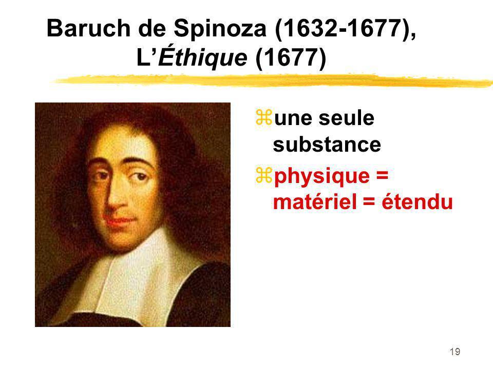 19 Baruch de Spinoza (1632-1677), LÉthique (1677) une seule substance physique = matériel = étendu