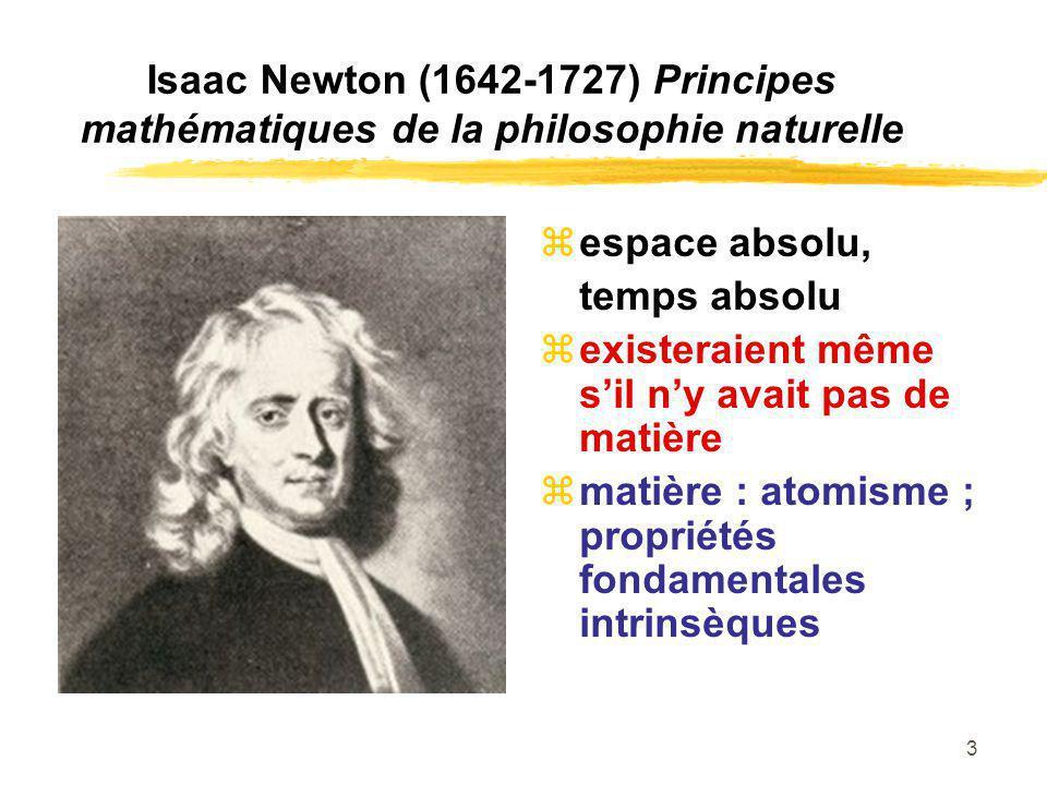 3 Isaac Newton (1642-1727) Principes mathématiques de la philosophie naturelle espace absolu, temps absolu existeraient même sil ny avait pas de matiè