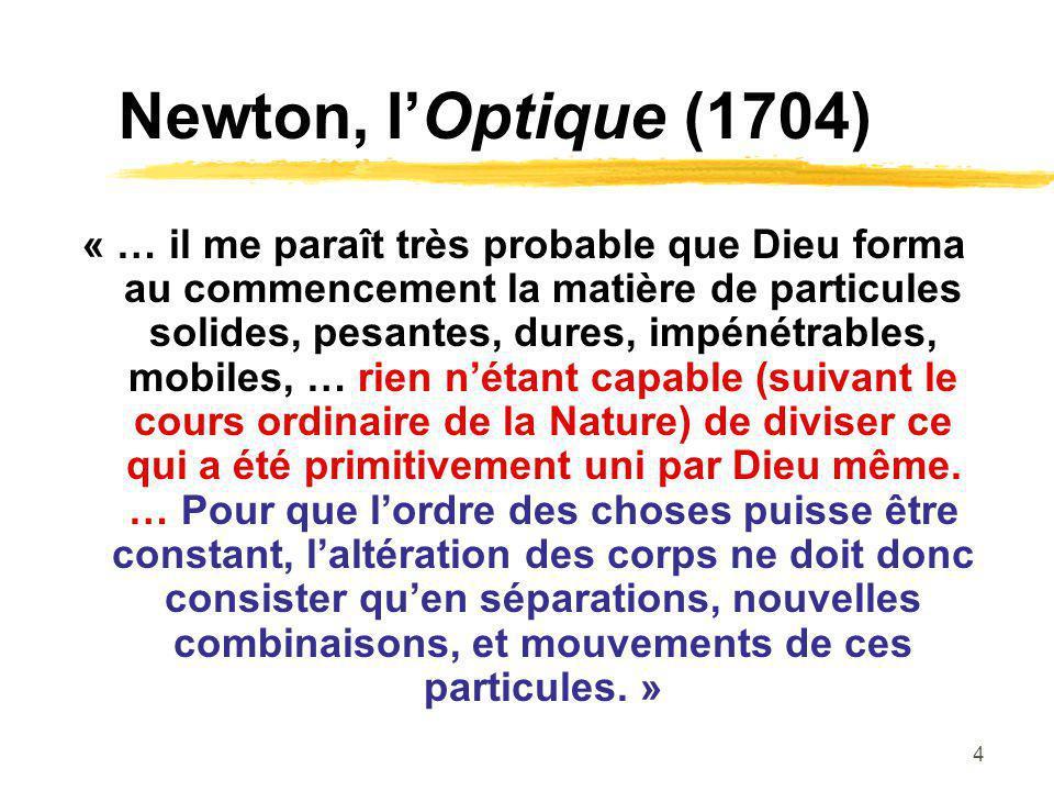 4 Newton, lOptique (1704) « … il me paraît très probable que Dieu forma au commencement la matière de particules solides, pesantes, dures, impénétrabl