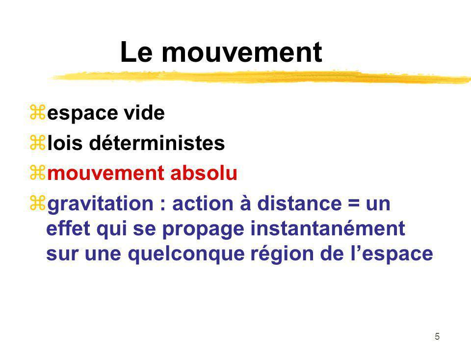 5 Le mouvement espace vide lois déterministes mouvement absolu gravitation : action à distance = un effet qui se propage instantanément sur une quelco